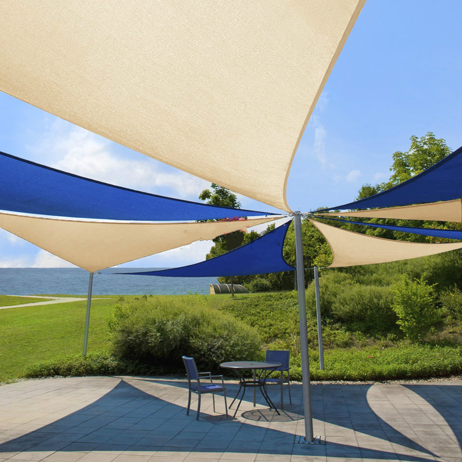 Jinguan Net 10 x10 x10  Beige Sun Shade Sail Canopy   Permeable UV Block  Fabric Durable Patio Outdoor   Customized AvailableSun Shade Outdoor Fabric Promotion Shop for Promotional Sun Shade  . Outdoor Fabric Sun Shades. Home Design Ideas