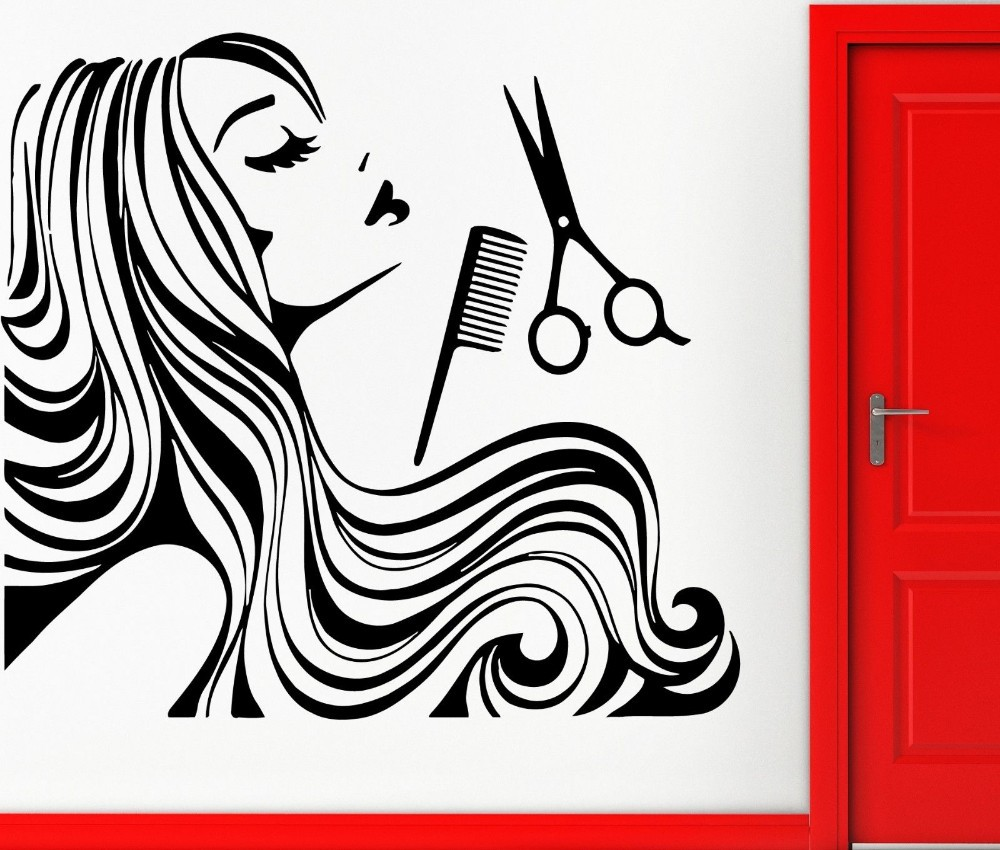 Hair Beauty Salon Vinyl Wall Stickerl Girl Teen Barbershop Removeable Wall Decal Hair Salon Window Glass Wall Decoration Wall Decor Hair Beauty Salonremovable Wall Decals Aliexpress