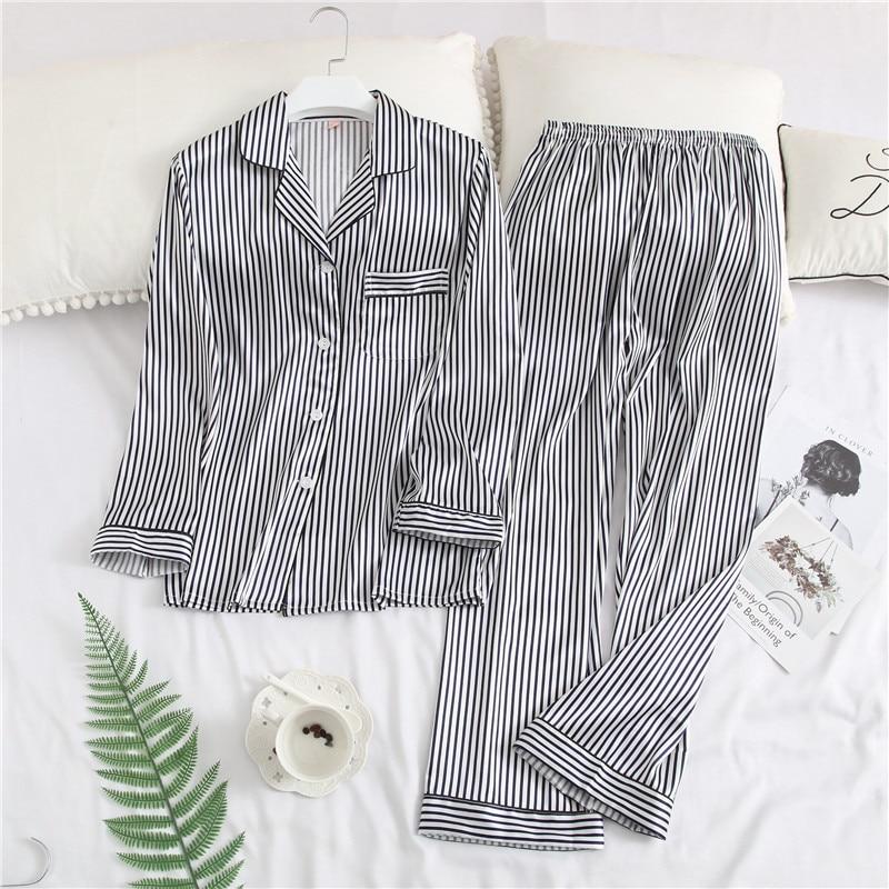 Striped Sweet Girls Sleepwear Spring Long Sleeve   Pajama     Set   Rayon Satin 2PCS Nightwear Casual Home Wear Pijamas Pyjamas M-XXL