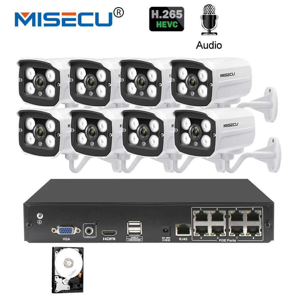 MISECU 8CH 2MP POE NVR 1080 P Камера комплект Открытый 1080 P PoE IP Камера аудио запись Onvif FTP CCTV системы комплект видеонаблюдения