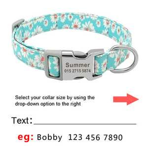 Image 5 - Custom Dog Collar Nylon Floral Engraved Pet Puppy Collar Print Personalized Name Collars for Small Medium Large Dogs Pitbull