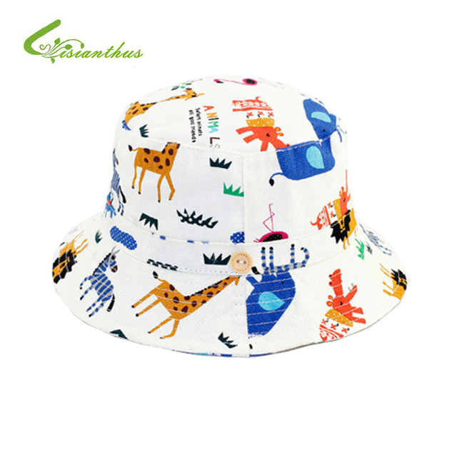 646c10db877 Infant Summer Outdoor Baby Cotton Sun Cap Baby Hat Animal Print Beach  Bucket Hats Boys Girls