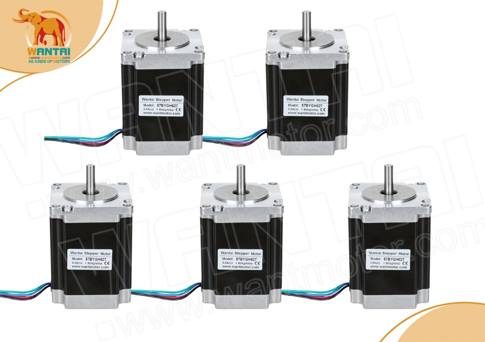 【Wantai EU ship 】5PCS NEMA23 STEPPER MOTOR 270 OZ-IN,3A,4-Leads,57BYGH627