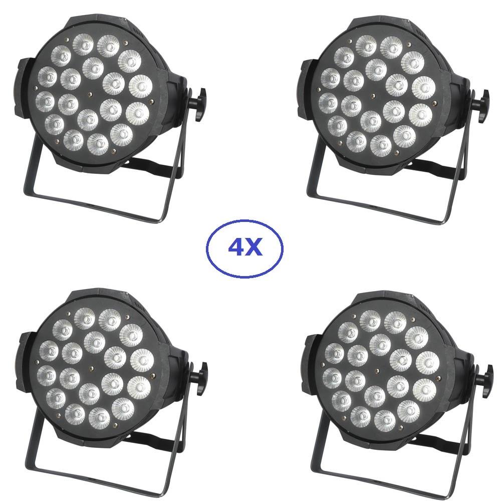 4 Pack Aluminum Shell Par Lights 18X10W RGBW 4IN1 LED Par Can Par LED Spotlight Dj Disco Party Projector Stage Wash Lights factory price 8xlot led par stage light 18x10w rgbw 4in1 led par can high quality par light dmx512 dj disco party event lighting