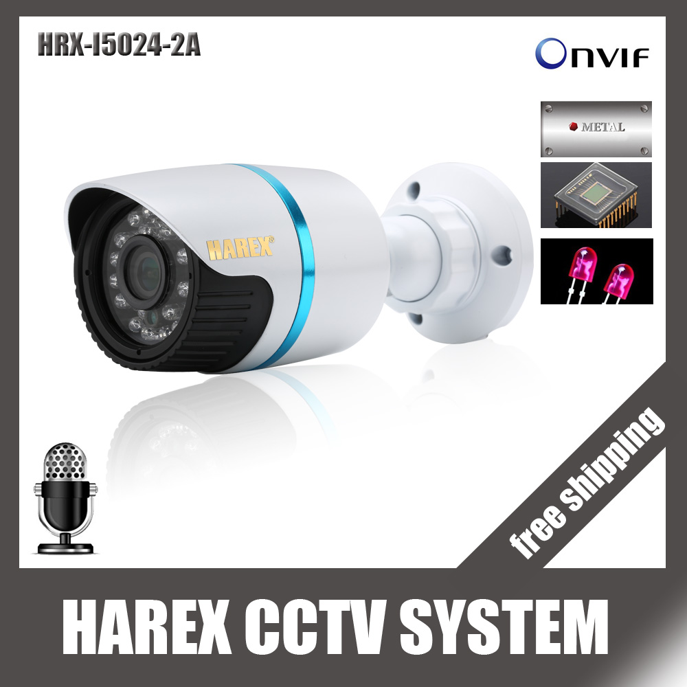 imágenes para Sony IMX322/OV2710 HD1080P ONVIF Audio con micrófono A Prueba de agua al aire libre IR de Visión Nocturna Plug and Play Mini Bala IP cámara