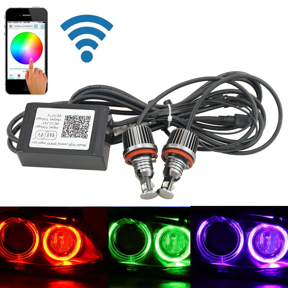 Free shiping Canbus H8 Wifi Phone Control Rgb Led Angel Eye Led Marker E92 Color Changing for BMW X5 E70 X6 E71 E90 E91 E92 M3 2x 10w led marker angel eyes wifi control rgb color change led marker light for 2005 2008 bmw e90 e91 pre facelift models