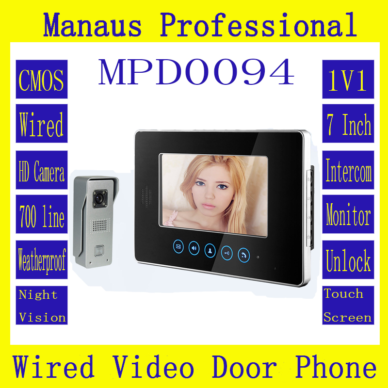 Latest Wired Magnetic Lock One to One Video door phone,High Quality Smart Home 7 inch Screen Display Video Intercom Phone D94b exported quality screen printing frame 7 5x10 inch 19x25cm wholesale price door to door