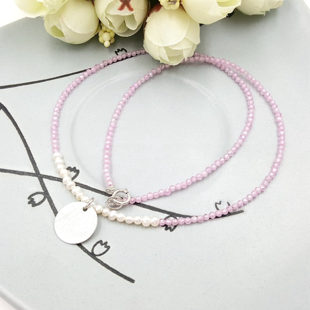 Lii Ji Natural Tiny Freshwater Pearl,Pink Zircon S925 Matte Coin Pendant 925 Sterling Silver Shining Necklace for Women Jewelry цена и фото