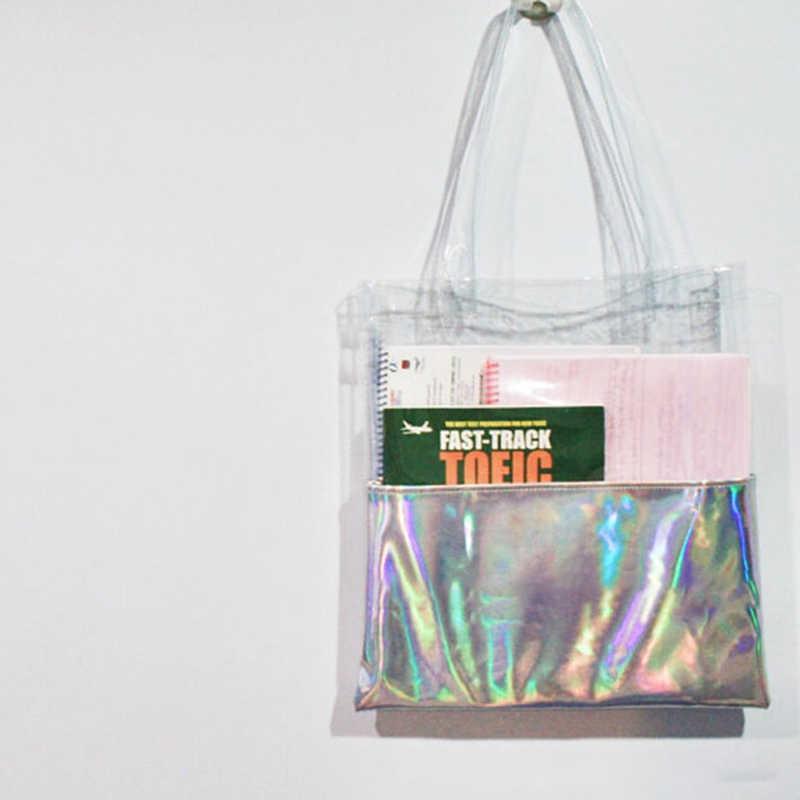AEQUEEN Rõ Ràng Laser Bags Túi Xách Phụ Nữ Trong Suốt Totes Túi Mua Sắm Lady Shoulder Bags Holographic Xử Lý Xách Bãi Biển Túi Nữ