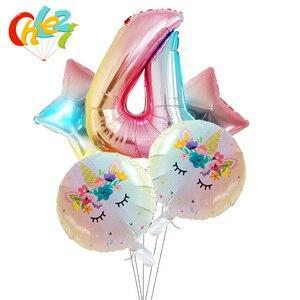 Image 5 - 5Pcs 1 2 3หมายเลขตกแต่งGlobosเด็กผู้หญิงของขวัญเด็กการ์ตูนยูนิคอร์นรูปบอลลูนฮีเลียมเด็กแสดงของเล่นเด็ก