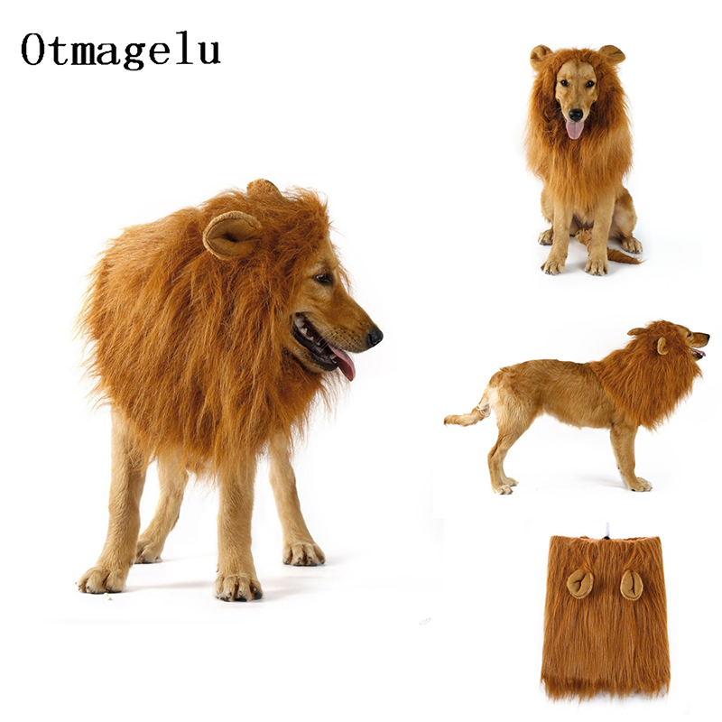 Cute Pet Dog Cat Cosplay Clothes Transfiguration Costume Lion Mane Warm Wig Large Dog Party Decoration With Ear Pet Accessories