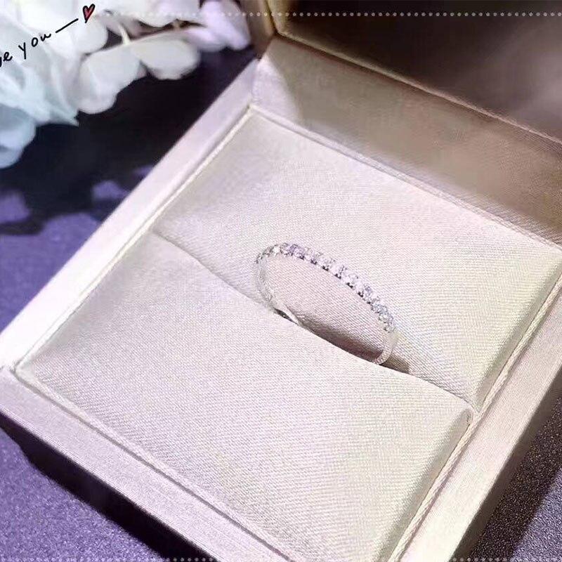 ANI 18 K Blanc Or (AU750) femmes Anneau De Mariage Certifié I/SI 0.22 CT Véritables pendentifs En Diamant Romantique Engagement Band Anneau pour Proposition