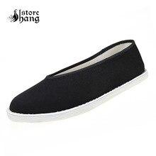 Мужские черные туфли кунг-фу; Китайская традиционная обувь с хлопковой подошвой; обувь для костюмированной вечеринки в китайском стиле «Мастер кунг-фу» Брюс Ли; размеры 39-46