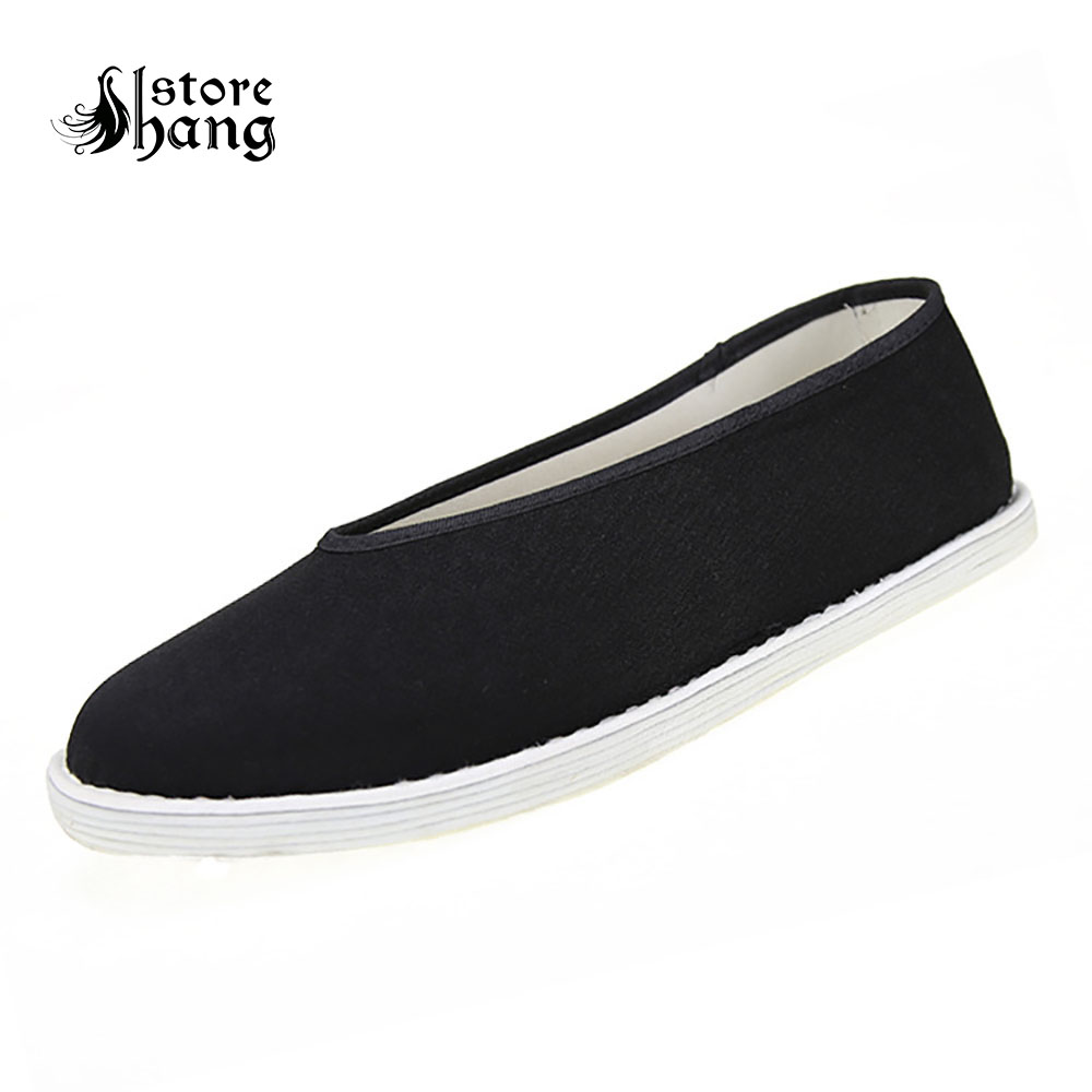 Men's Black Kung Fu Shoes Chinese Traditional Step in Cotton