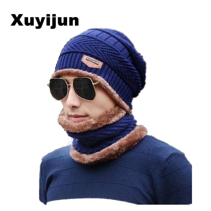 Xuyijun Balaclava cappello Lavorato A Maglia berretto sciarpa scaldacollo Inverno Cappelli Per Uomo donna skullies berretti berretto In Pile caldo papà