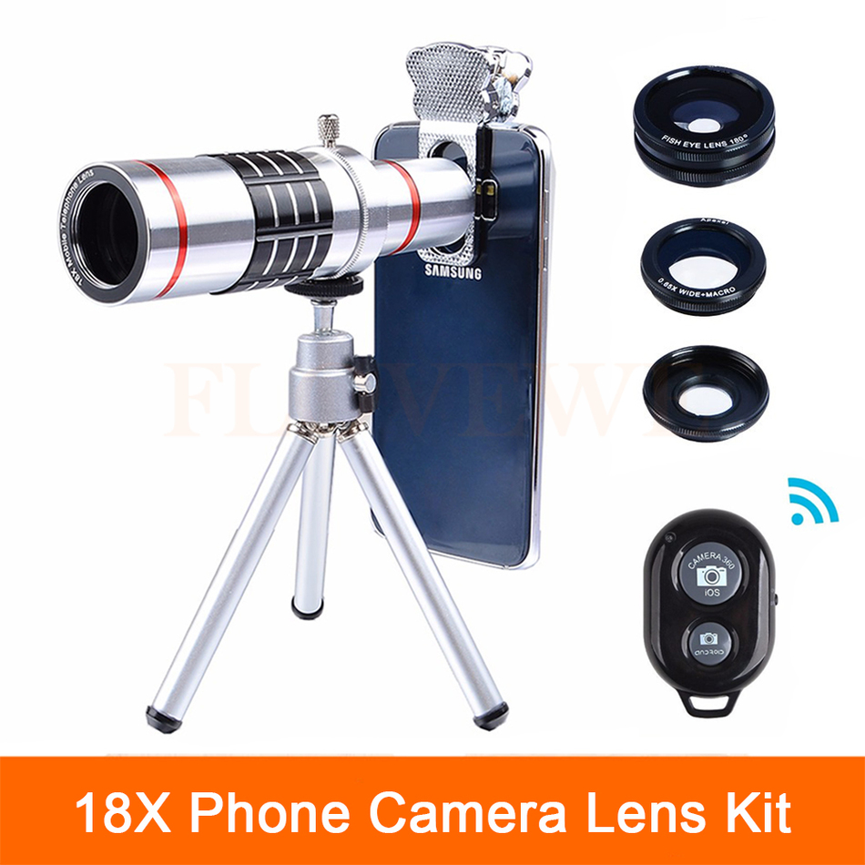 High Quality 18X Zoom Telephoto Lentes Telescope 3 in 1 Fisheye Wide Angle Macro lens With Tripod Clips For Cell Phone Lenses
