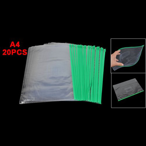 SOSW-Office Green Clear Size A4 Paper Slider Zip Folders PVC Files Bags 20PCS