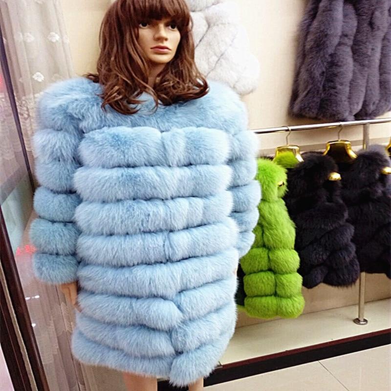 90cm délka Nový skutečný kabát dámský zima opravdu liščí kožich odnímatelný skutečný kožich dámský transformátor kabát A # 28