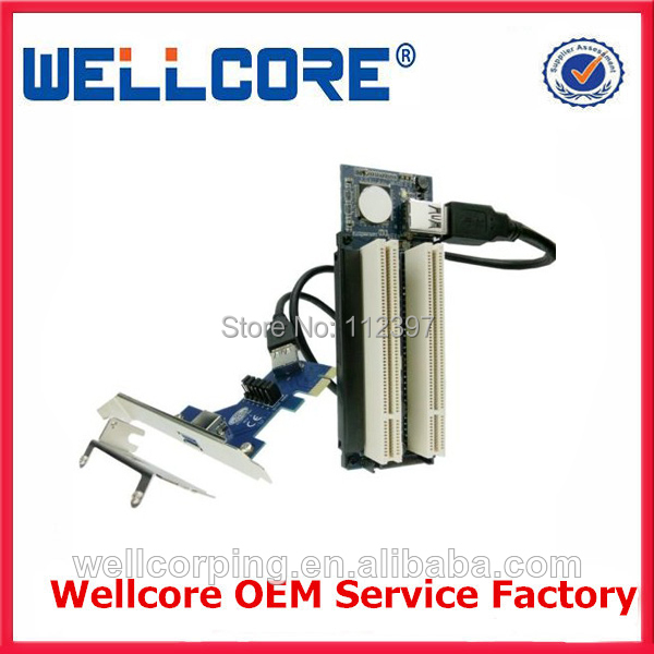 Free Tracked Shipping! PCI express x1 PCIe TO 2 PCI Adapter Router Dual PCI slot Riser Card Get Tow PCI