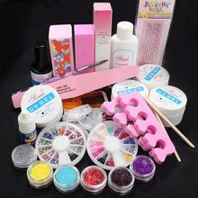 2017 Most Popular Full Acrylic Glitter Powder Glue File French Nail Art UV Gel Tips Kit Set enhance shine Anne