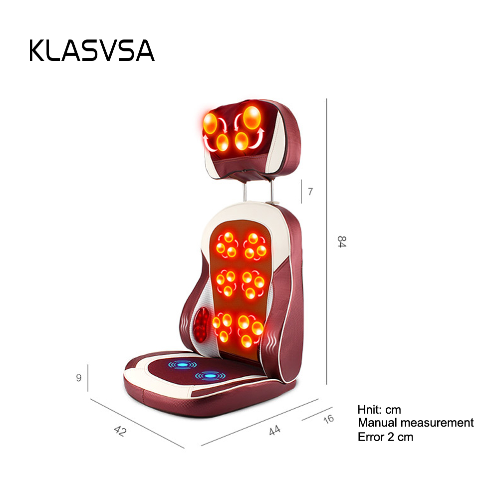 Image 5 - KLASVSA Eelectric Heating Kneading Massage Chair Infrared Physical Therapy Neck Pillow Back Massage Relax Seat Cushion Vibrator-in Massage & Relaxation from Beauty & Health