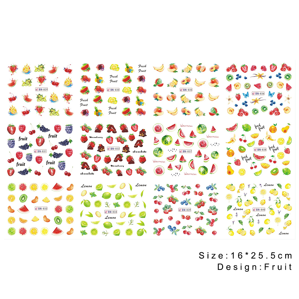Image 5 - Mixed 12 Fruit Nail Sticker Set Lemon Water Decals Transfer Colorful Slider Tips Nail Art Watermelon Decor SABN829 840-in Stickers & Decals from Beauty & Health