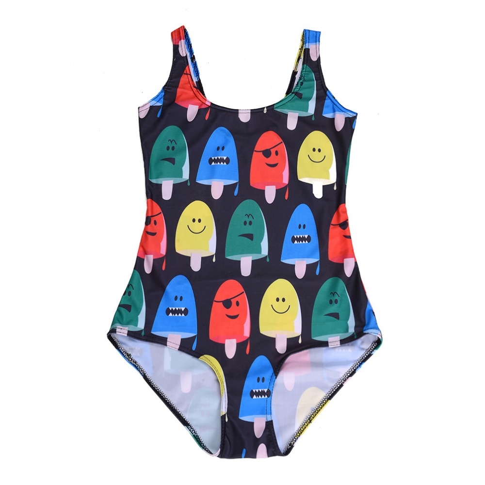 2016 New Plus Size love spark Icecream Printing Women White Black Sexy Triangle Bathing Suits Great Wave Swimsuit One Piece