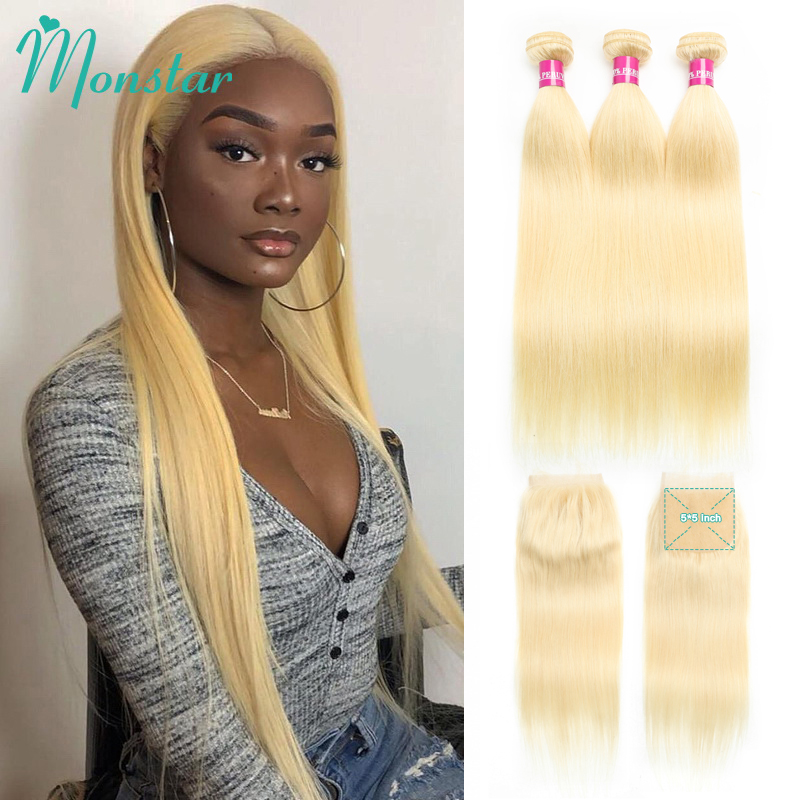 Monstar 613 Blonde Bundles with 5x5 Lace Closure Peruvian Straight Unprocessed Human Hair 8 28 Inch