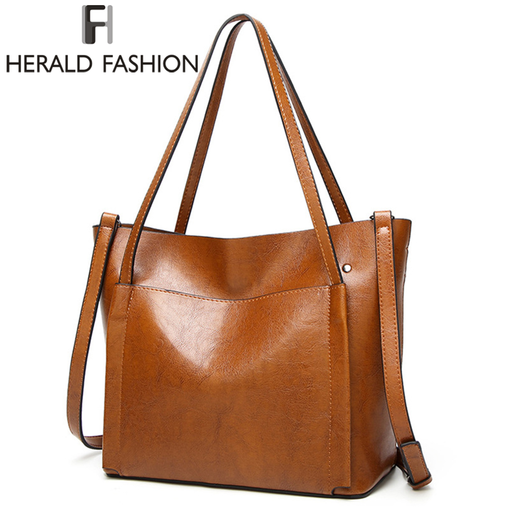 HERALD FASHION 2017 Large Capacity Women Shoulder Bag High Quality Leather Handbags For Women Brand Ladies Tote Bag PU Pouch 2016 new genuine polo brand golf bag for men s clothing bag women pu bag large capacity high quality