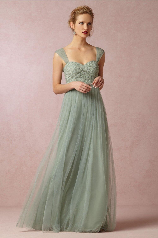 Elegante dama de honor larga vestidos para la boda verde