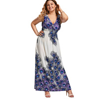 V Neck Printed Plus Size Maxi Prom Dress