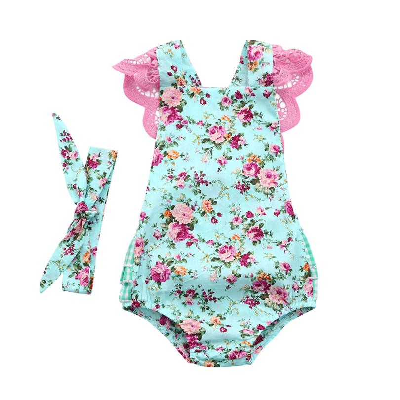 Baby Sleeveless Floral Print Lace Romper + Hairband Girl Romper Floral Print Lace Jumper Headband Set #xxf