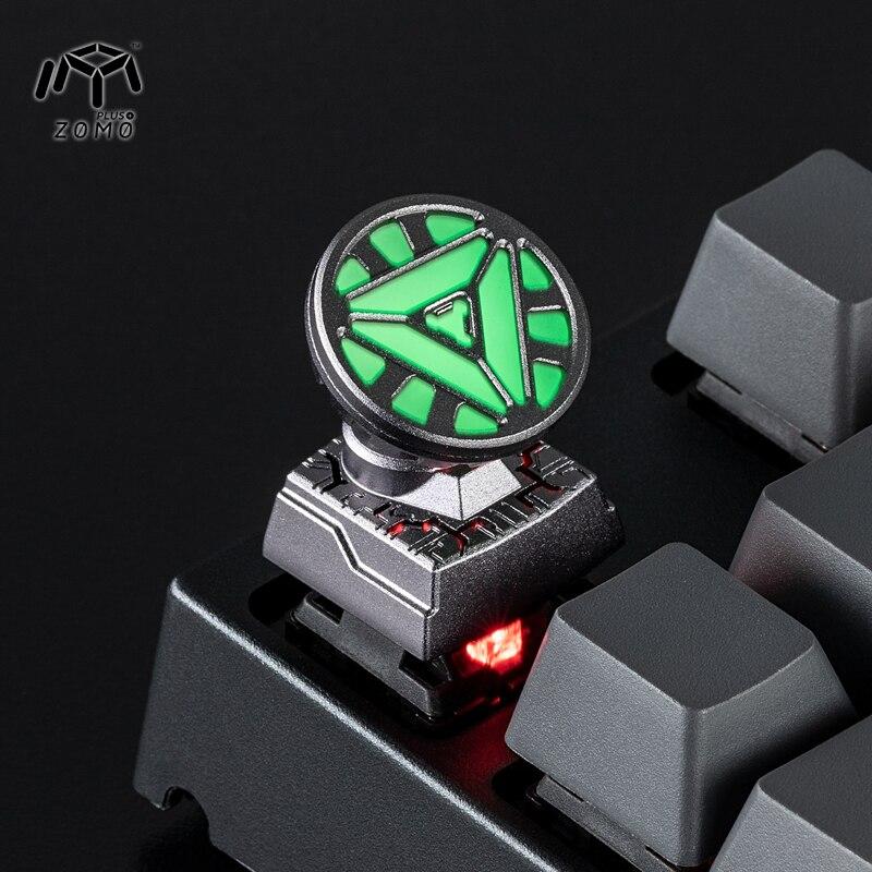 Iron Man Reactor Luminous Aluminum Alloy ESC Keycaps Detachable Full Mental Mechanical Keyboard Key Cap for