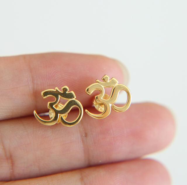 0b7444724 wedding gift 100% 925 sterling silver women OM ohm sign jewelry YOGA  earrings for elegance girl gold color stud earring 2019 MEW