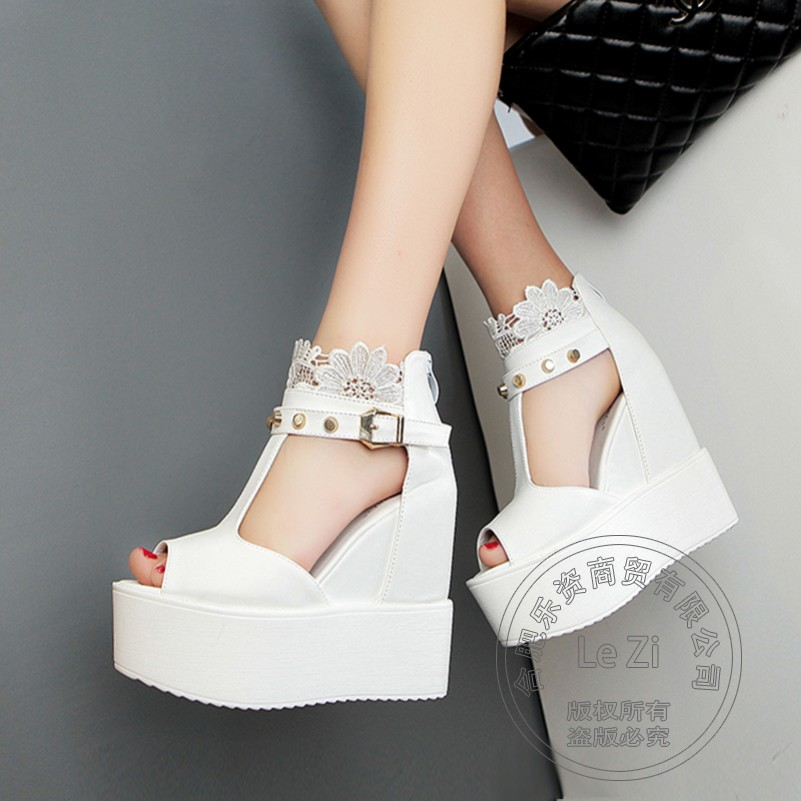 Arrival Shoes font b Women b font Wedge Wedge Shoes Insole Increase Leisure Novelty White Shoes