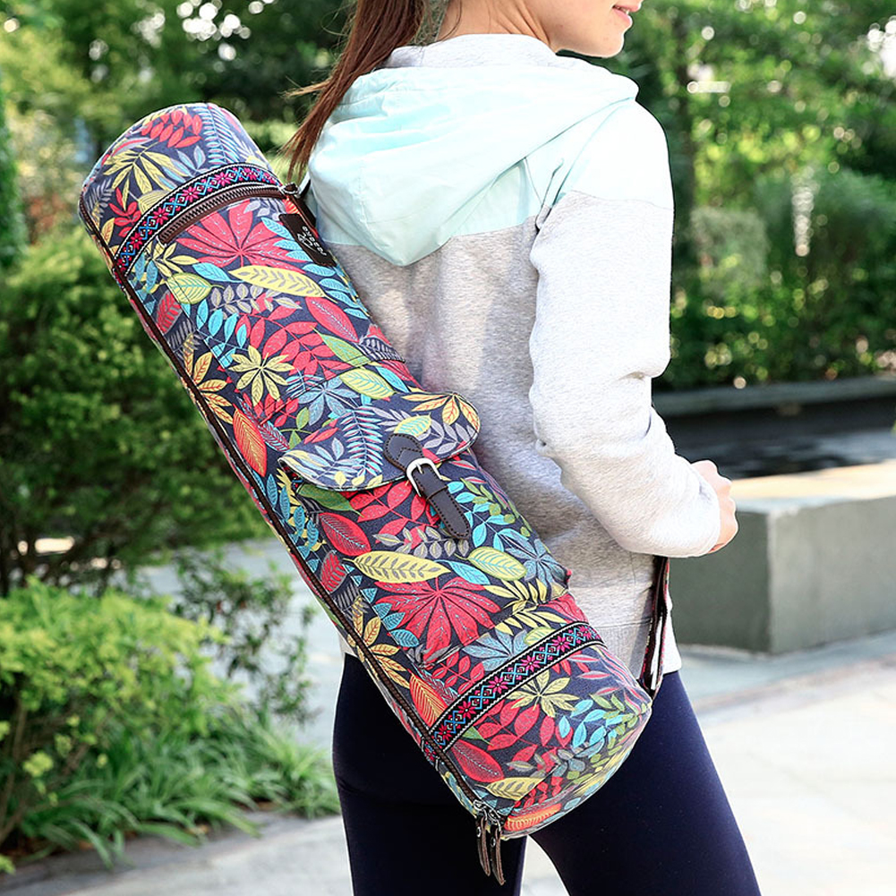 Casual Exercise Fitness Carrier Waterproof Practical Portable Case Yoga Mat Bag Shoulder Gym Leaves Print Adjustable Strap