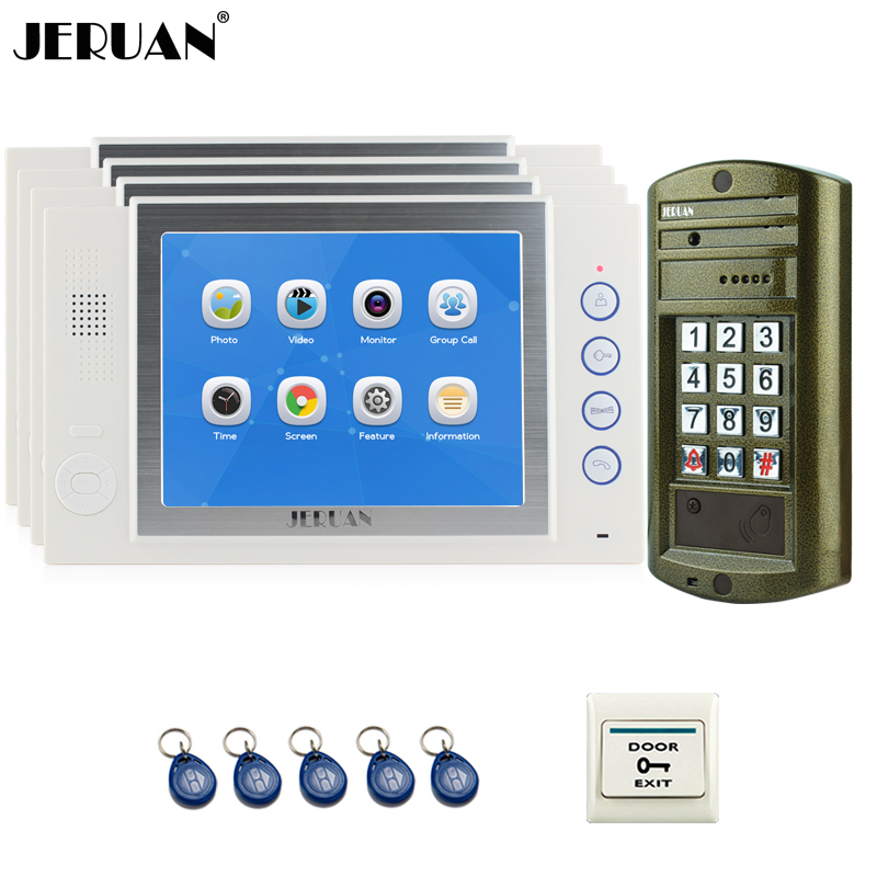 JERUAN  8 inch Video Intercom Door Phone System kit 4 Record Monitor + NEW Metal Waterproof Access Password HD Mini Camera 1V4 jeruan 8 inch video door phone high definition mini camera metal panel with video recording and photo storage function