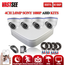 1080 4CH AHD video recorder KITS AHD-H full HD 2.0MP SONY 323 CCTV safety indoor Sensor dome digicam p2p System surveillance