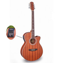 Electro Pop Con Tapa Llana Eléctrica Acústica Folk Guitarra Jumbo 40 Pulgadas Cutaway Sapele Guitarra 6 Cuerdas Luz Roja Sintonizador Incorporado
