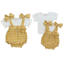 2019 Newborn Baby Girls Clothes Set Summer T-shirt Plaid Overall Bib Pants Toddler Clothing Infant Baby Clothing Girls Sets