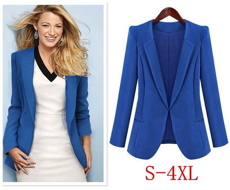 Women Plus Size XL 2XL 3XL 4XL Womens Fashion Casual Coat Woman Suits Blaser Feminino 2018 Black Blue Hidden Breasted