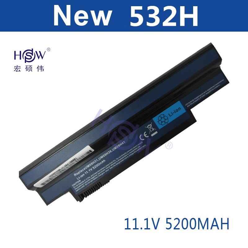 HSW 5200MAH 6cells new Laptop battery FOR ACER Aspire one AO533-KK3G AO533-WW3G eMachines 350 350-21G16i eM350 NAV50 NAV51