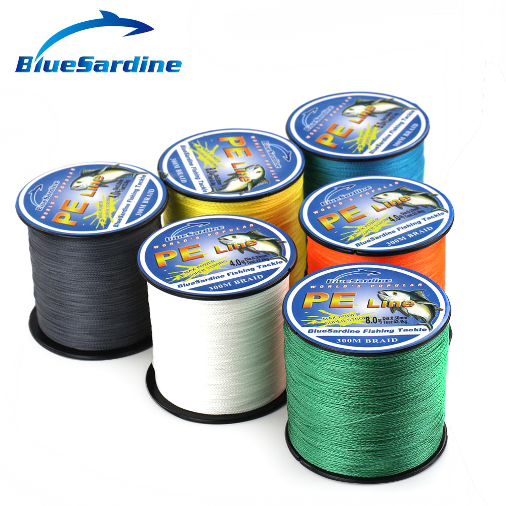 BlueSardine 300M Super Strong Flätat Fiske Line Multifilament PE 4 Braid Wires Fiskehantering 12LB - 90LB