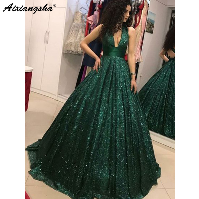 Emerald Green 2018 Prom Dresses V-Neck Glitter Sequin Ball Gown Backless Party Maxys Long Prom Gown Evening Dress Robe De Soiree