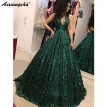 Verde esmeralda 2018 vestidos de baile com decote em v glitter lantejoulas vestido de baile sem costas festa maxys longo vestido de baile vestido de noite robe de soiree