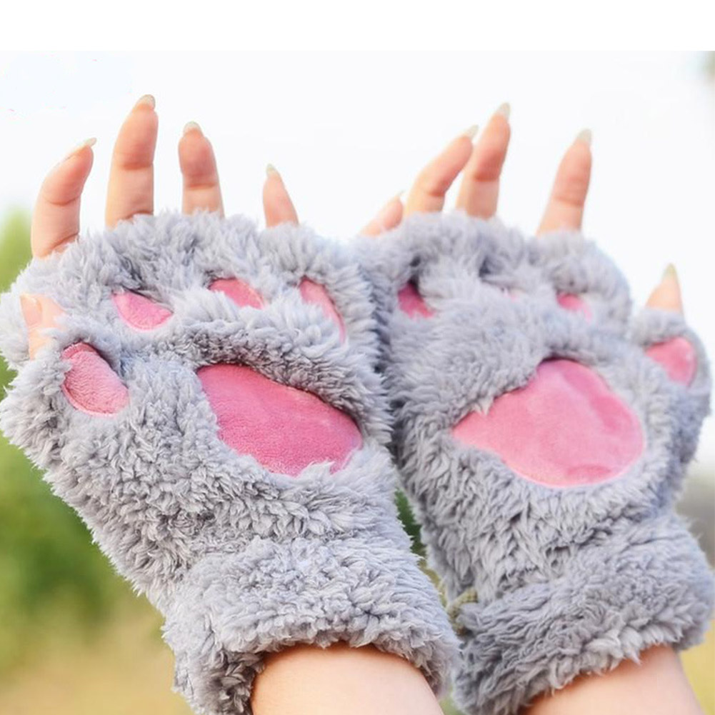 YJSFG HOUSE Fashion Women Gloves Funny Wolf Paw Winter Warm Fingerless Gloves Fluffy Bear Cat Plush Paw Claw Half Finger Mitten