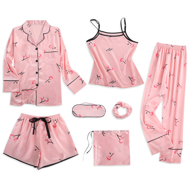 Strawberry Print 7pcs   Pajamas     Sets   Women Sleepwear Silk Satin   Pajamas   Pyjamas   Set   Long Sleeve Winter and Summer Full   Pajamas     Set