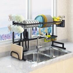 Atualizar preto rack de prato de aço inoxidável sobre a pia prato de secagem rack titular copo organizador da cozinha