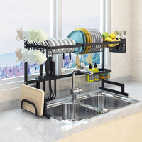 Upgrade Black Stainless Steel Dish Rack Over The Sink Dish Drying Rack Cup Holder Kitchen Organizer