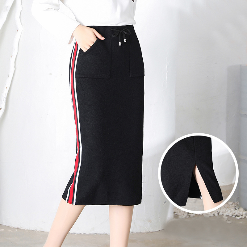 Casual Knitting One Step Split Skirt with Womens Pocket for Fall and Inverno
